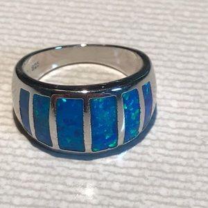 Blue fire opal ring